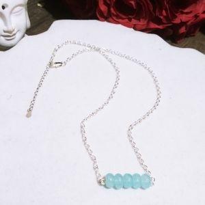 Nwt March Birthstone! 925 Aquamarine Bar Necklaces